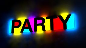 3d illustration of the colorful and glowing lettering of the wor. D party royalty free illustration
