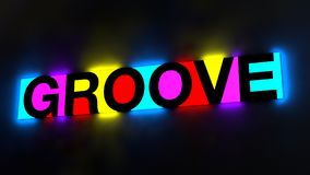 3d illustration of the colorful and glowing lettering of the wor. D groove royalty free illustration