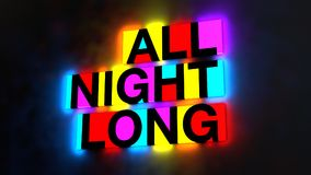 3d illustration of the colorful and glowing lettering of the wor. Ds all night long vector illustration
