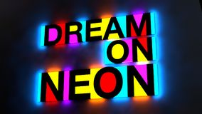 3d illustration of the colorful and glowing lettering of the wor. Ds dream on neon royalty free illustration