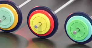 3d illustration of colorful gym barbells Royalty Free Stock Photo