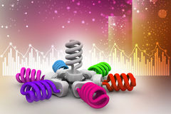 3d illustration of colorful light bulbs Stock Photography