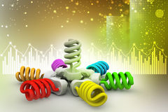 3d illustration of colorful light bulbs Royalty Free Stock Image