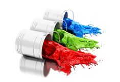 3d Colorful paint splashing out of cans. 3d illustration. Colorful paint splashing out of cans. Isolated white background Royalty Free Stock Photography