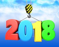3d crane hook with colorful 2018 sign. 3d illustration of colorful 2018 sign with crane hook over sky background Stock Photo