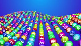 Wavy Social News Balls Images. 3d illustration of colorful social mass media balls placed in rows in the blue background. They illustrate various social services Stock Image