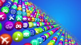 Social Media News Balls Rows. 3d illustration of colorful social media news balls placed in lines in the blue background. They are covered with various symbols Stock Image