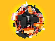 3d Illustration of Colorful sphere. Yellow and Black and Orange cubes on yellow Background. Royalty Free Stock Photos