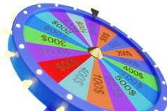 3d illustration colorful wheel of luck or fortune. Roulette fortune spinning wheels, casino wheel. Wheel fortune on stock illustration