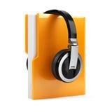 Computer folder with earphones Stock Photos