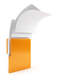 Computer folder with flying documents Royalty Free Stock Photo
