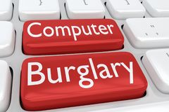 Computer Burglary concept. 3D illustration of computer keyboard with the print Computer Burglary on two adjacent red buttons Royalty Free Stock Photo