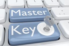 Master Key concept. 3D illustration of computer keyboard with the print Master Key on two adjacent pale blue buttons, and a key inserted into one of these butons Stock Images