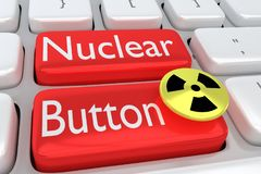 Nuclear Button concept. 3D illustration of computer keyboard with the print Nuclear Button on two adjacent red buttons, allong with a nuclear button Stock Photos