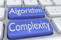 Algorithm Complexity concept. 3D illustration of computer keyboard with the script Algorithm Complexity on two adjacent blue buttons vector illustration