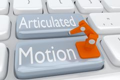 Articulated Motion concept. 3D illustration of computer keyboard with the script Articulated Motion on two adjacent gray buttons, with an industrial robotic arm Stock Photo