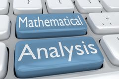 Mathematical Analysis concept. 3D illustration of computer keyboard with the script Mathematical Analysis on two adjacent pale blue buttons Stock Photography