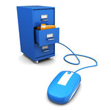 Archive connection. 3d illustration of computer mouse connected to cabinet Royalty Free Stock Photos