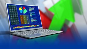 3d blank. 3d illustration of computer over arrows graph background Royalty Free Stock Photos