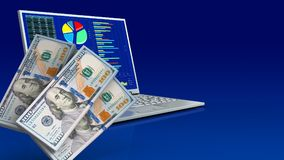 3d of computer. 3d illustration of computer over blue gradient background with money banknotes vector illustration