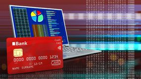 3d of computer. 3d illustration of computer over red cyber background with bank card stock illustration