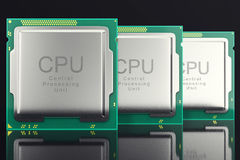 3d illustration computer PC CPU chip electronics industry concept, close-up view. Royalty Free Stock Photo