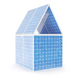 3D illustration concept of a house made of solar panels. Concept alternative electricity source. Eco energy, clean Stock Photo