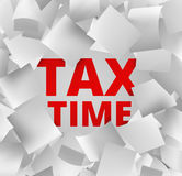 3d illustration concept for tax time. With falling papers and red words behind Royalty Free Stock Image