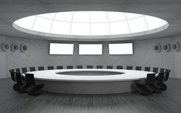 Secret bunker meeting. 3D illustration. Conference room for meetings with a dome round shape with a large table. Secret underground military bunker Royalty Free Stock Photos