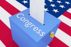 Congress - legislative concept. 3D illustration of Congress script on a ballot box, with US flag as a background Stock Images