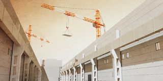 3d illustration of construction cranes build industrial hall. 3D modeling Royalty Free Stock Image