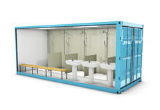 3d Illustration of Container Bathroom. Concept of Reuse Container. 3d Illustration of Container Bathroom. Concept of Reuse Container Royalty Free Stock Image