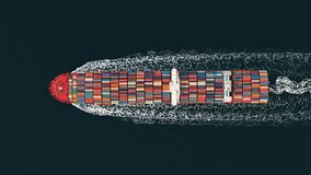 3D Illustration of a container ship. International transportation