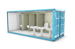 3d Illustration of Container toilet. Concept of Reuse Container. Royalty Free Stock Photography