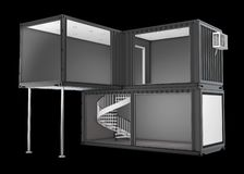 3d Illustration of Converted old shipping container, isolated black Royalty Free Stock Photos