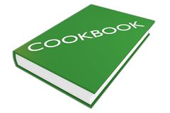 COOKBOOK - culinar concept. 3D illustration of COOKBOOK script on a book, isolated on white Stock Photo