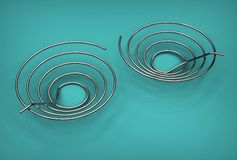 3d illustration of copper pipe coils Stock Photos