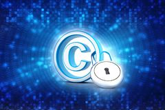 3d illustration copyright symbol concept. Copyright Protection with padlock royalty free stock photos