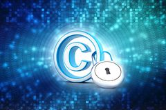 3d illustration copyright symbol concept. Copyright Protection with padlock stock photo