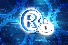 Registered Trademark concept with padlock. 3d render. 3d illustration copyright symbol concept, Registered Trademark concept with padlock royalty free illustration
