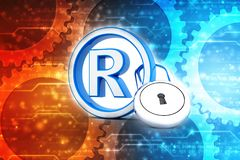 Registered Trademark concept with padlock. 3d render. 3d illustration copyright symbol concept, Registered Trademark concept with padlock vector illustration
