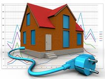 3d cable over diagram. 3d illustration of cottage with cable over diagram background Royalty Free Stock Photography