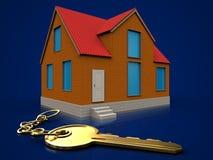 3d golden key over dark blue. 3d illustration of cottage with golden key over dark blue background Stock Image