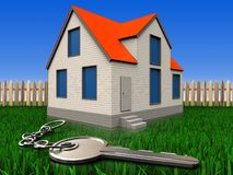 3d key over lawn and fence Stock Photos