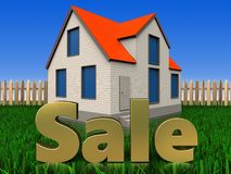 3d sale sign over lawn and fence. 3d illustration of cottage house with sale sign over lawn and fence background Stock Photos