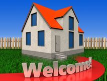 3d welcome sign over lawn and fence Stock Photography