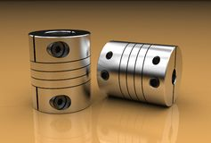 3d illustration of coupling. On metallic Royalty Free Stock Image