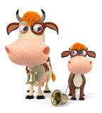 3d illustration cow with calf Royalty Free Stock Image