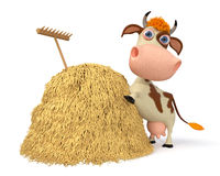 3d illustration the cow costs near a haystack Royalty Free Stock Image