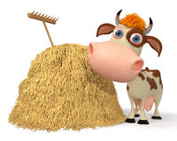 3d illustration the cow costs near a haystack Stock Image